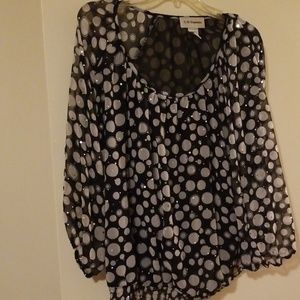 ❤Black/white/silver Semi Sheer Bubble Blouse  2X
